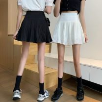 skirt Summer 2021 S,M,L,XL White, black Short skirt commute High waist A-line skirt Solid color Type A 18-24 years old 0406L 30% and below other Other / other Korean version