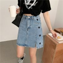 skirt Spring 2021 S,M,L,XL Blue, charcoal Short skirt commute High waist A-line skirt Type A 18-24 years old 0328L 30% and below other Other / other Korean version