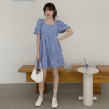 Dress Spring 2021 White, blue, black Average size Short skirt singleton  Short sleeve commute square neck High waist Solid color Socket A-line skirt pagoda sleeve 18-24 years old Type A Other / other Korean version 0226T 30% and below other