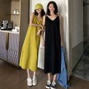 Dress Spring 2021 Black, yellowish green Average size Mid length dress singleton  Sleeveless commute V-neck Solid color Socket camisole 18-24 years old Type H Korean version 1.22j 30% and below