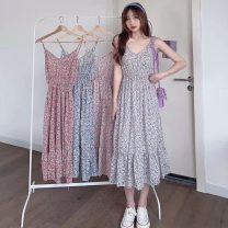 Dress Summer 2021 Pink, red, green, blue Average size Mid length dress singleton  Sleeveless commute V-neck High waist Broken flowers Socket A-line skirt camisole 18-24 years old Type A Other / other Korean version 0417Y 31% (inclusive) - 50% (inclusive)