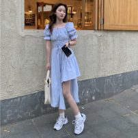 Dress Spring 2021 Sky blue, white, black Average size Mid length dress singleton  Short sleeve commute square neck High waist Solid color Socket A-line skirt puff sleeve 18-24 years old Type A Other / other Korean version W0402 30% and below other
