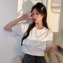 T-shirt White, black Average size Spring 2021 Short sleeve Crew neck easy Regular commute other 30% and below 18-24 years old Korean version Other / other 0401L