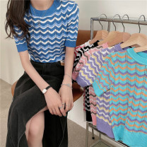 T-shirt Black and white, red and white, purple and yellow, blue and white, pink and green Average size Summer 2021 Short sleeve Crew neck Self cultivation Regular commute other 30% and below 18-24 years old Korean version Thick horizontal stripe Other / other 0411L
