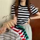 T-shirt Gray, red, green, Navy, black Average size Summer 2021 Short sleeve Crew neck Self cultivation have cash less than that is registered in the accounts routine commute other 31% (inclusive) - 50% (inclusive) 18-24 years old Korean version Thin horizontal stripe Other / other W0417