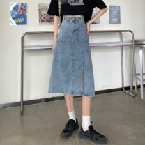 skirt Spring 2021 S,M,L,XL blue Mid length dress commute High waist Denim skirt Type H 18-24 years old 0403Y 30% and below Other / other Korean version