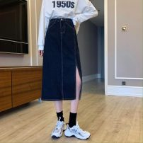 skirt Autumn 2020 S,M,L,XL Picture color Mid length dress commute High waist Denim skirt Solid color Type A 18-24 years old 0928w 31% (inclusive) - 50% (inclusive) other Other / other Korean version