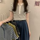 T-shirt White, blue, yellow, black Average size Spring 2021 Short sleeve Crew neck Self cultivation Regular routine commute other 96% and above 18-24 years old Korean version Thin horizontal stripe Other / other W0327