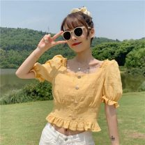 shirt White, purple, yellow Average size Spring 2021 other 30% and below Short sleeve commute Short style (40cm < length ≤ 50cm) square neck other Solid color 18-24 years old Self cultivation Other / other Korean version 0305Y