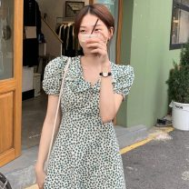 Dress Summer 2021 Picture color Average size Mid length dress singleton  Short sleeve commute High waist Broken flowers Socket A-line skirt puff sleeve 18-24 years old Type A Other / other Korean version W0410 30% and below other