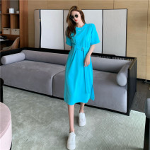 Dress Spring 2021 Sky blue, dark grey Average size Mid length dress singleton  Short sleeve commute Crew neck High waist Socket A-line skirt 18-24 years old Type H Other / other Korean version 0330Y 31% (inclusive) - 50% (inclusive)