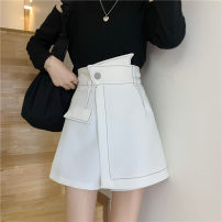 skirt Spring 2021 S,M,L White, black Short skirt Versatile High waist A-line skirt Solid color Type A 18-24 years old 51% (inclusive) - 70% (inclusive) Other / other polyester fiber Button