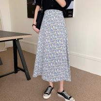 skirt Summer 2021 Average size Pink, orange, blue Mid length dress commute High waist A-line skirt Broken flowers Type A 18-24 years old 0411L 30% and below other Other / other Korean version