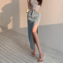 skirt Summer 2021 S,M,L,XL Blue, black Mid length dress commute High waist Denim skirt Type A 18-24 years old 0406Y 30% and below other Other / other other Korean version