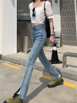 Jeans Summer 2021 blue S,M,L trousers High waist Flared trousers routine 18-24 years old Multiple pockets Cotton elastic denim light colour 0402M Other / other 31% (inclusive) - 50% (inclusive)