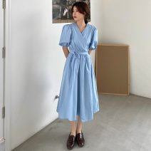 Dress Summer 2021 White, blue Average size longuette singleton  Short sleeve commute V-neck High waist Solid color Socket A-line skirt puff sleeve 18-24 years old Type A Other / other Korean version W0411 30% and below other