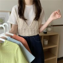 T-shirt white , green , blue , orange Average size Summer 2021 Short sleeve Crew neck Two piece set Regular routine commute other 51% (inclusive) - 70% (inclusive) 18-24 years old Korean version Solid color Other / other W0404