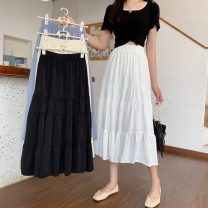 skirt Spring 2021 Average size Apricot, white, blue, black Mid length dress commute High waist Cake skirt Solid color Type A 18-24 years old W0325 30% and below other Other / other Korean version