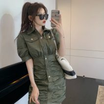 Dress Summer 2021 Army green, white S,M,L Short skirt singleton  Short sleeve commute Polo collar Others 18-24 years old Other / other Korean version 0411L 30% and below other