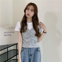 T-shirt Gray, black Average size Summer 2021 Short sleeve Crew neck Straight cylinder have cash less than that is registered in the accounts commute other 30% and below 18-24 years old Korean version Other / other 0414L