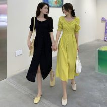 Dress Summer 2021 Yellow, black Average size (80-130 kg) Mid length dress singleton  Short sleeve commute square neck High waist Solid color Socket A-line skirt puff sleeve Others 18-24 years old Type A Other / other Korean version W0415 30% and below other