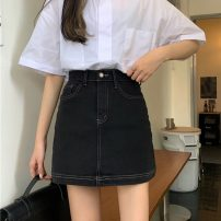 skirt Summer 2021 S,M,L,XL black Short skirt commute High waist Denim skirt Solid color Type A 18-24 years old W0417 30% and below other Other / other Korean version