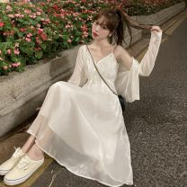 Dress Summer 2021 White T-shirt, suspender skirt M. L, average size Mid length dress Two piece set Sleeveless commute V-neck High waist Socket A-line skirt camisole 18-24 years old Type A Other / other Korean version 0412Y 31% (inclusive) - 50% (inclusive)