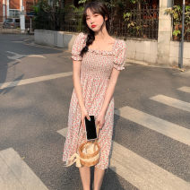 Dress Spring 2021 Blue, pink Average size Mid length dress singleton  Short sleeve commute square neck High waist Broken flowers A-line skirt Others 18-24 years old Type A Other / other Korean version 0402Y 31% (inclusive) - 50% (inclusive)