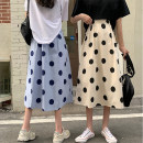 skirt Summer 2021 S,M,L Apricot, white, blue Mid length dress commute High waist A-line skirt Dot Type A 18-24 years old 0413L 30% and below other Other / other Korean version