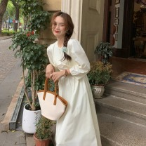 Dress Spring 2021 White, goose yellow Average size Mid length dress singleton  Long sleeves commute V-neck High waist Solid color Socket A-line skirt puff sleeve 18-24 years old Type A Other / other Korean version 0314Y 31% (inclusive) - 50% (inclusive)