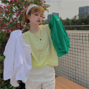 T-shirt Bright yellow, white, green Average size Spring 2021 Short sleeve Crew neck easy Regular commute other 30% and below 18-24 years old Korean version Solid color Other / other 0410L