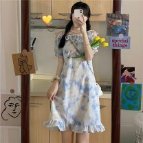 Dress Summer 2021 white S,M,L Short skirt singleton  Short sleeve commute One word collar High waist Socket puff sleeve 18-24 years old Type A Other / other Korean version W0418 30% and below other