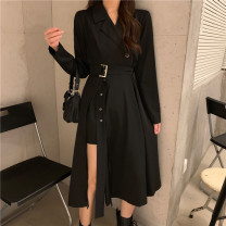 Dress Winter 2020 black S,M,L longuette singleton  Long sleeves commute tailored collar High waist Solid color A-line skirt routine 18-24 years old Type A Other / other Korean version 0812@ 31% (inclusive) - 50% (inclusive)