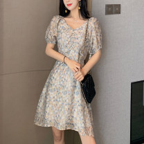 Dress Summer 2021 Graph color M, L Middle-skirt singleton  Short sleeve commute V-neck High waist Socket A-line skirt Others 18-24 years old Type A Other / other Korean version 0411Y 31% (inclusive) - 50% (inclusive) other