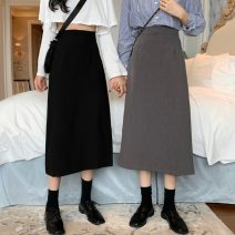skirt Summer 2021 S,M,L Apricot front split, black back split, gray back split Mid length dress commute High waist A-line skirt Solid color Type A 18-24 years old W0415 31% (inclusive) - 50% (inclusive) other Other / other Korean version