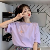 T-shirt White, purple, yellow M,L,XL Spring 2021 Short sleeve Crew neck easy Regular routine commute other 30% and below 18-24 years old Korean version youth Other / other Embroidery