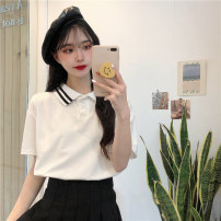 T-shirt white Average size Spring 2021 Short sleeve Polo collar easy Regular routine commute other 30% and below 18-24 years old Korean version Other / other 0312L