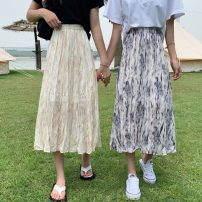 skirt Summer 2021 Average size Apricot, black Mid length dress commute High waist Pleated skirt Type A 18-24 years old 0418L 30% and below other Other / other Korean version