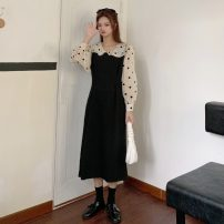 Dress Spring 2021 Blue dot, apricot dot S, M Mid length dress Fake two pieces Long sleeves commute Doll Collar High waist Dot Socket A-line skirt puff sleeve Others 18-24 years old Type A Other / other Korean version 0313M 31% (inclusive) - 50% (inclusive) other