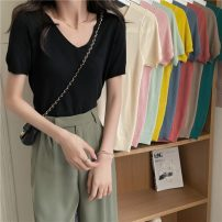 T-shirt Apricot, red, green, blue, yellow, black, pink, mint green, coffee Average size Summer 2021 Short sleeve V-neck Straight cylinder Regular commute other 30% and below 18-24 years old Korean version Other / other 0410L