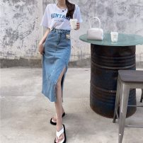 skirt Summer 2021 S,M,L Denim blue skirt, denim black skirt Mid length dress commute High waist A-line skirt Solid color Type A 18-24 years old 0411M 30% and below other Other / other Retro