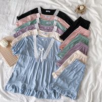 Pajamas / housewear set female Other / other Average size Apricot, pink, violet, green, blue, black other Short sleeve Simplicity Leisure home spring routine shorts youth 2 pieces Less than 20% other 0309L