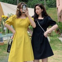 Dress Summer 2021 Yellow, black S (80-100kg), m (100-120kg) Middle-skirt singleton  Short sleeve commute square neck High waist Solid color Socket A-line skirt puff sleeve Others 18-24 years old Type A Other / other Korean version 31% (inclusive) - 50% (inclusive) other