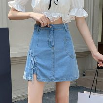 skirt Spring 2021 S,M,L,XL blue Short skirt commute High waist Denim skirt Solid color Type A 18-24 years old W0401 30% and below other Other / other Bandage Korean version