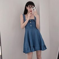Dress Summer 2021 Picture color S, M Short skirt singleton  Sleeveless commute High waist Solid color Socket A-line skirt camisole 18-24 years old Type A Other / other Korean version W0411 30% and below other