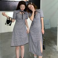 Dress Summer 2021 30168 short color, 30169 long color S (80-100kg), m (100-120kg), m (90-110kg), l (110-130kg) Mid length dress singleton  Short sleeve commute stand collar High waist lattice Socket A-line skirt routine Others 18-24 years old Type A Other / other Korean version W0414 30% and below