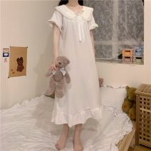 Nightdress Other / other White, blue, pink Average size Sweet Short sleeve pajamas longuette spring Solid color youth Crew neck Lotus leaf edge Less than 20% other W0320 200g and below
