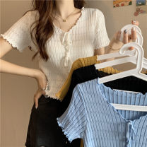 T-shirt Sky blue, white, yellow, black Average size Summer 2021 Short sleeve V-neck Self cultivation have cash less than that is registered in the accounts commute other 30% and below 18-24 years old Korean version Other / other 0410L