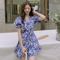 Dress Summer 2021 White and blue floral dress S, M Short skirt singleton  Short sleeve commute High waist Broken flowers Socket A-line skirt puff sleeve Others 18-24 years old Type A Other / other Korean version W0414 30% and below other