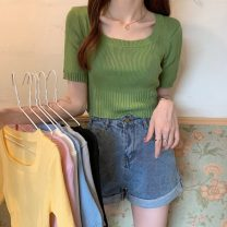 T-shirt Gray, white, green, blue, yellow, black, taro purple Average size Spring 2021 Short sleeve Crew neck Self cultivation have cash less than that is registered in the accounts routine commute other 31% (inclusive) - 50% (inclusive) 18-24 years old Korean version other Solid color Other / other